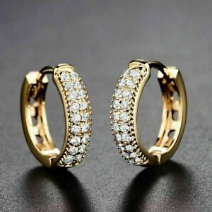1-00-Ct-Round-Cut-Diamond-Huggie-Hoop-Earrings-Solid-14K-Yellow-Gold-Finish