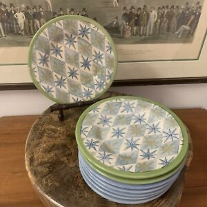 Pottery Barn~ Set of 8 ALLEGRA Salad Plates~ Blue & Green~ EUC