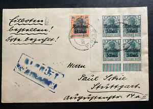 1918 Oltenița Romania Germany Occupation Cover To Stuttgart Provisional Stamps