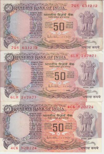 Lot of 3 India Banknote P84c-d-e 50 Rupees Sig 85 No inset-A-B Nice Circulated