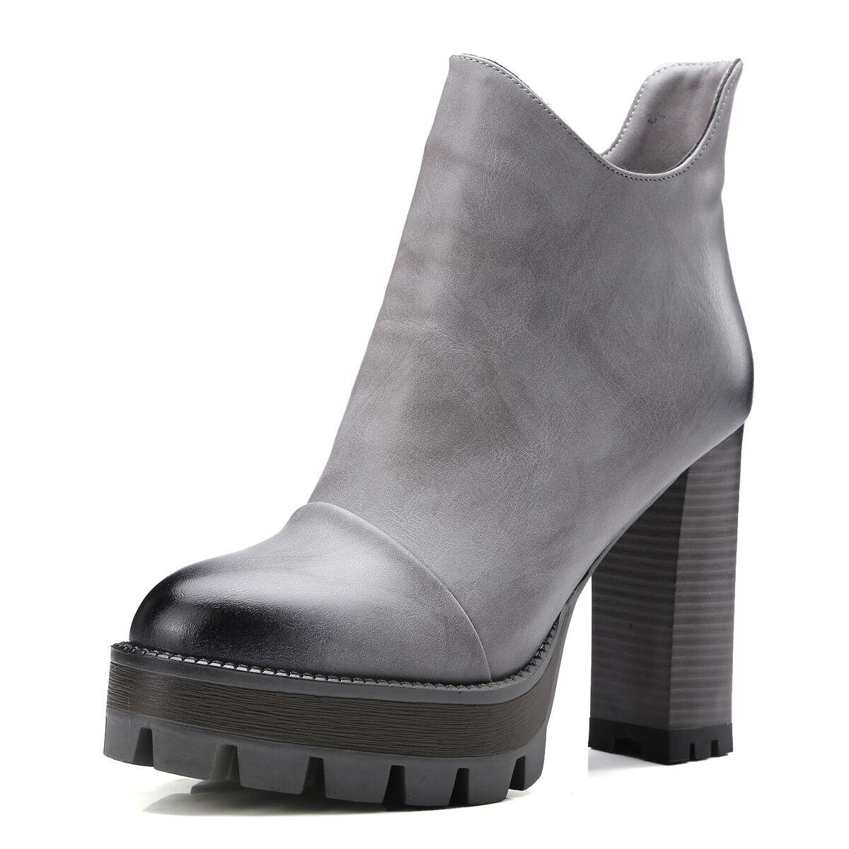 Retro Womens Leather Ankle Boots Casual Platform Platform Platform Side Zip Block High Heels Shoes a7f18e