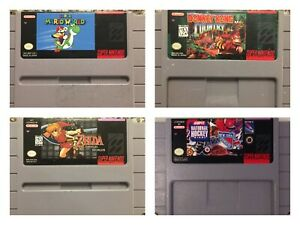 Super-Nintendo-SNES-4-Game-Lot-Zelda-Super-Mario-Donkey-Kong-NHL-TESTED