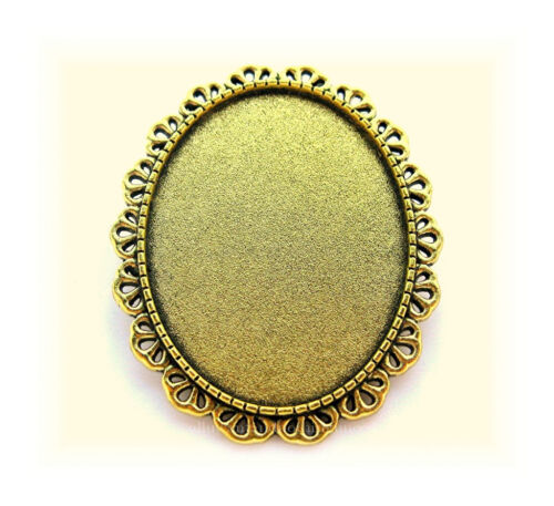 4 Antiqued Goldtone Jolie style 40mm x 30mm CAMEO Pin Brooch Frames Settings