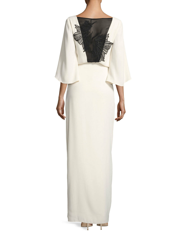 NWT Halston Heritage Embroidery  Bateau-Neck Blouson Evening Weiß Gown Größe 6