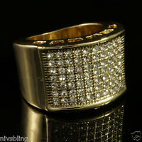 14k Gold Band Micropave CZ AAA Crystal Men's Hip Hop Bling Iced Out Pinky Ring