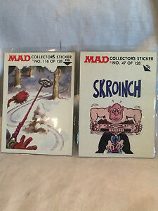Collectible-Vintage-1983-Mad-Magazine-Stickers-No-47-And-116-of-128