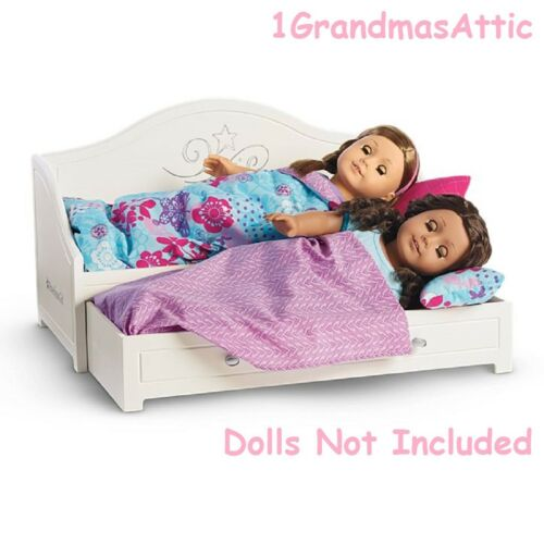 """American Girl Trundle Bed /& Bedding Set for 18/"""" Dolls New In Box"""