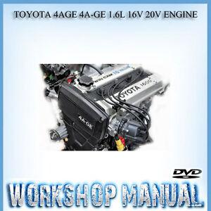 toyota 4age 4a ge 1 6l 16v 20v engine workshop repair service manual rh ebay com au toyota 4a fe engine service manual toyota 4a fe repair manual
