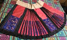 Antique Chinese Embroidered Silk Dark Pink Damasks Skirt Qing Dynasty