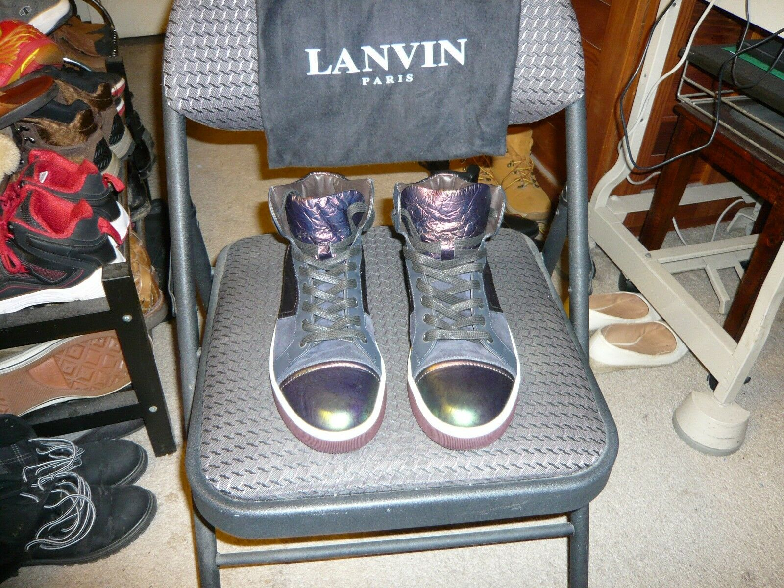 Lanvin of Paris Iridescent Green Red Material Suede Ankle Sneaker, Sz.IT 7, US 8