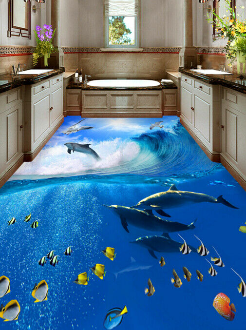 3D Sun Gull Dolphin 6 Floor WallPaper Murals Wall Print 5D AJ WALLPAPER UK Lemon