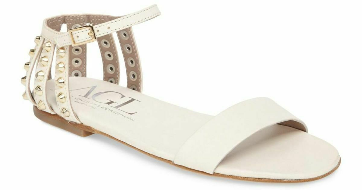 Agl Attilio Giusti Leombruni Studded Heel Cage Flat Sandals 38.5 Ivory Leather