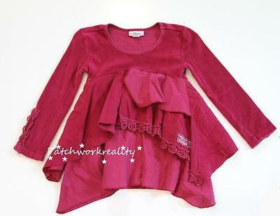 NAARTJIE Lace Trimmed Lawn Velour Ruffled Tunic Top Dress Cranberry Red Size 7