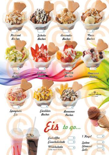 wetterfestes Plakat, Eis zum Mitnehmen, Selbstklebefolie, DINA 1, Eiskarten,p10