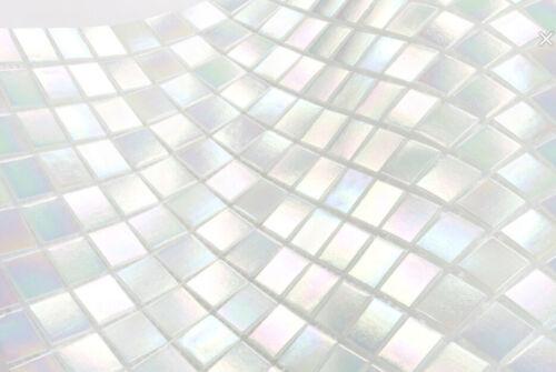 Verre Glasmosaik Iridium Blanc Mur Sol Cuisine Douche Carreaux Miroirwb58-0103