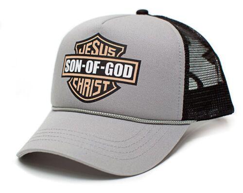 New Jesus Christ Son of God Gray//Black Cotton Flannel Mesh Trucker Hat Curved