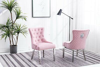 Baby Pink Velvet Studded Lion Head Metal Chrome Leg Tufted Dining Chair Uk Ebay