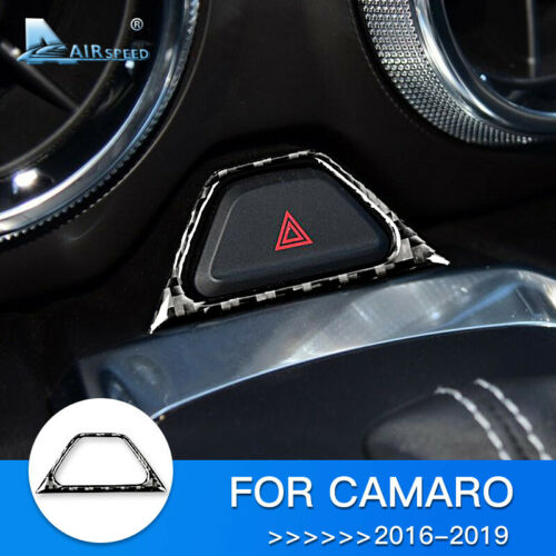 Carbon Fiber Warning Light Button Frame Cover Trim for Chevrolet Camaro 2016-19