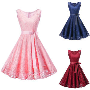 Women Vintage Swing Lace 50s Rockabilly Short Prom Cocktail Evening ... afce2b327