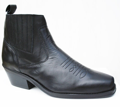 Genuine Leather Western Cowboy Ankle Boots Black Elasticated Sides /& Chisel Toe