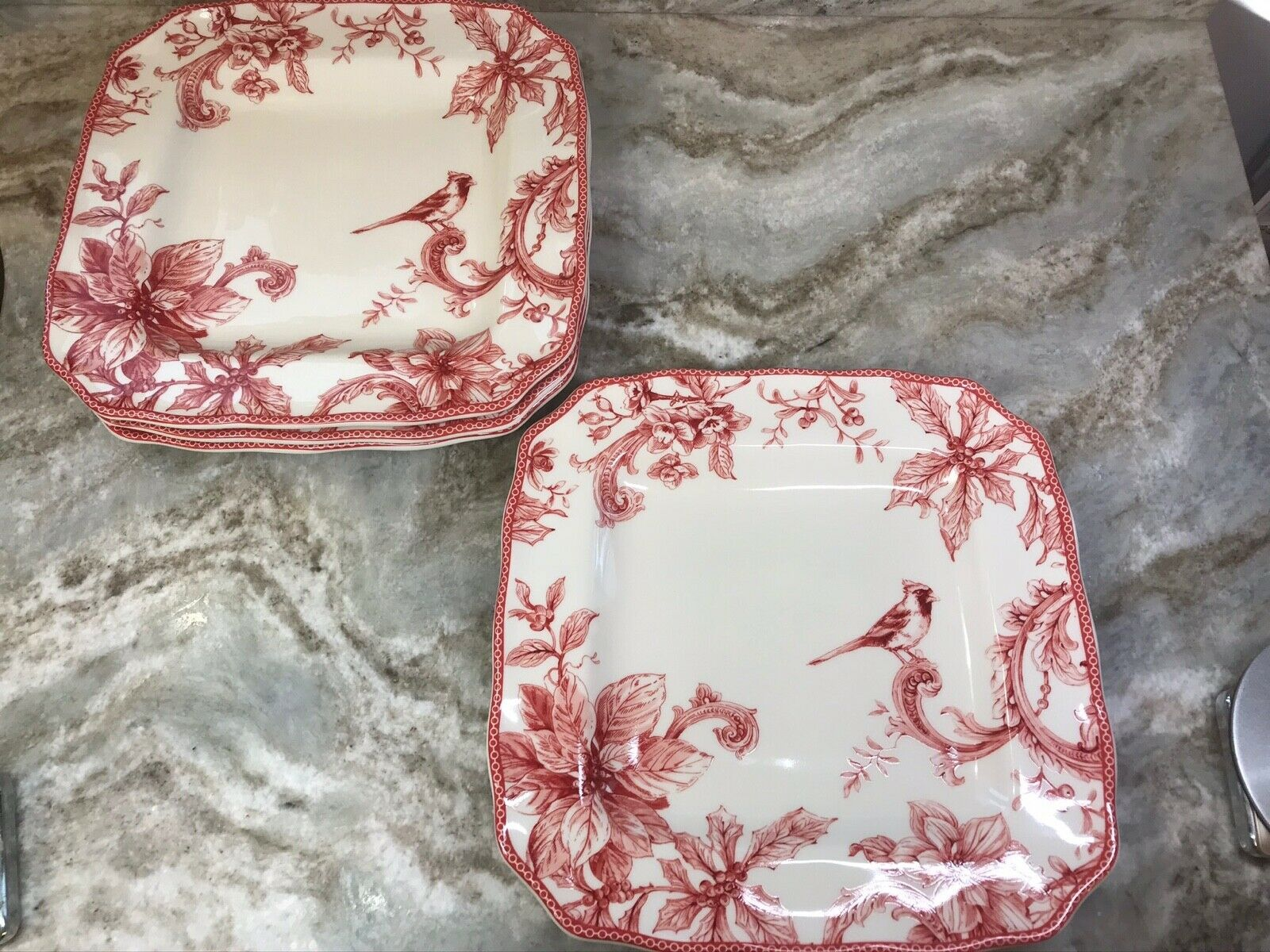 222 Fifth Christmas Lane Square Dinner Plates Set Of 4 Red White