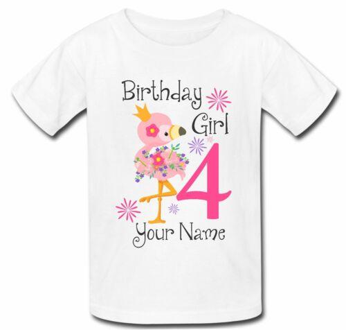 Personnalisé Flamingo T Shirt Neuf Filles Mignon Joyeux Anniversaire Tout Nom Âge