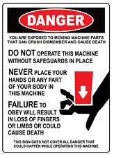 Osha Danger Machine Safety Guidelines Adhesive Vinyl Sign Decal