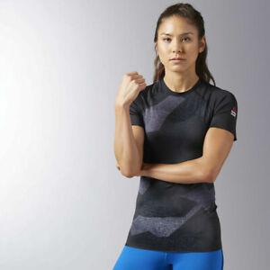 Reebok-Womens-Crossfit-Paddle-Slim-Fit-Lightweight-Black-Short-Sleeve-Tee-BK1027