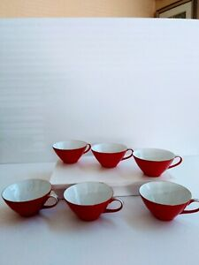 Lot-of-6-Sone-China-Made-in-Japan-Red-Tea-Cup-Beautiful-cups-No-Saucers