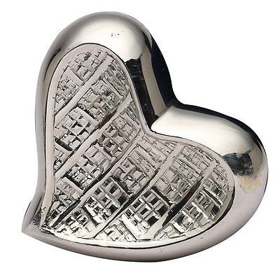Mini Theale Nickel Heart Keepsake Memorial Urn, Brass Cremation Urn for Ashes