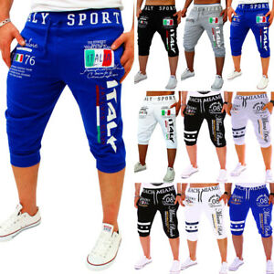 Mens-Jogger-Jogging-Shorts-Sports-Gym-Workout-Fitness-Sweat-Pants-3-4-Trousers