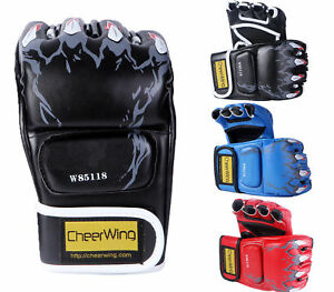 MMA-UFC-Muay-Thai-Sparring-Grappling-Boxing-Gloves-Fight-Punch-Mitts-PU-Leather