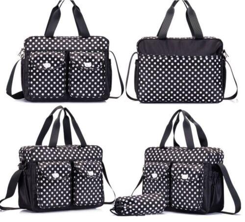 Bag BB1 3pcs Black Baby Nappy Changing Diaper Bag Set 3in1 Rug Bottle Holder