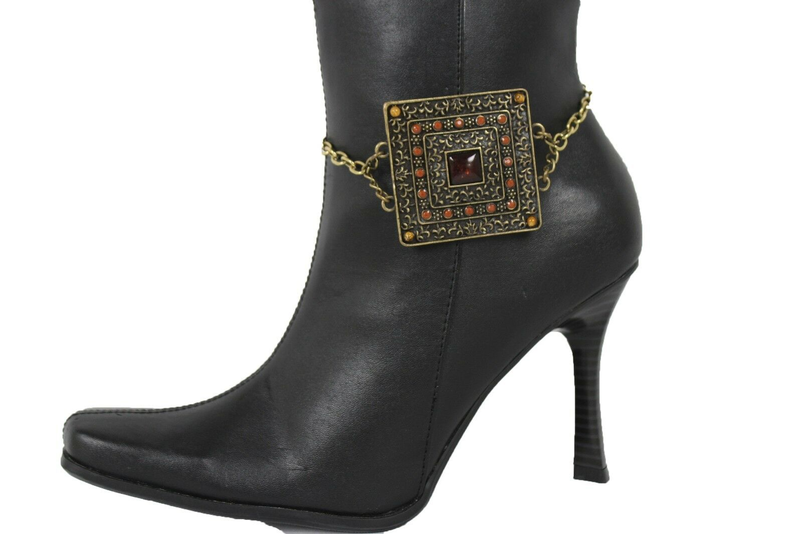 Women Antique Gold Metal Chain Boot Bracelet Anklet Shoe Ethnic Charm Jewelry