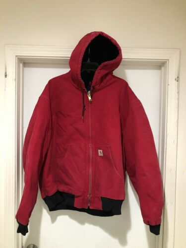 Vintage Carhartt Red Full Zip Hooded Fleece Lined