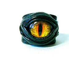 Black leather ring adjustable. Fantasy Dragon eye horror evil eye statement ring