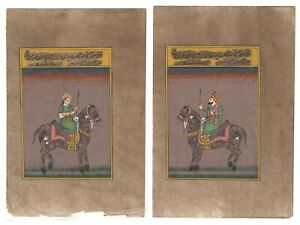 Mughal-King-Queen-Miniature-Painting-Wall-Decor-Old-Paper-Painting-Pair-Moghul