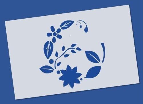 Reusable Mylar Flower Wreath Stencil Airbrush Crafting Canvas decor Wall art