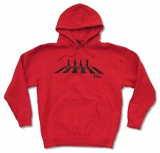 THE BEATLES - ABBEY ROAD SILHOUETTE RED PULL OVER HOODIE SWEATSHIRT NEW ADULT XL