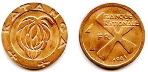 Twelve-12-Katanga-Bronze-1961-1-Franc-Coins-Uncirculated-KM1