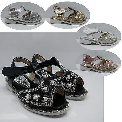 Niñas Niños Bebé Infantil Niño Diamante Verano Sandalias Peep Toe De Goma Zapatos Talla