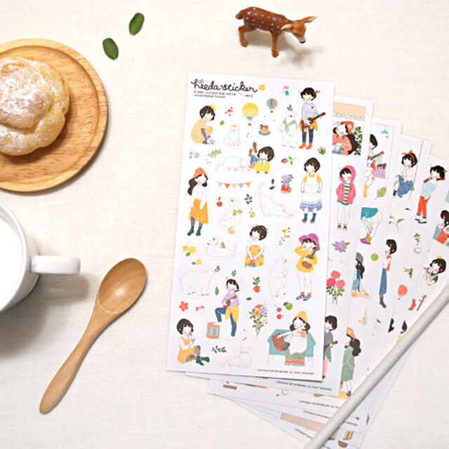 6Pcs Forest Sweet Korean Girl Diary Cartoon Scrapbooking Decorative PVC Stickers