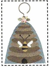 "Punchneedle Pattern by Artful Offerings  ""Honey Bee Season""  (Hanging Ornament)"