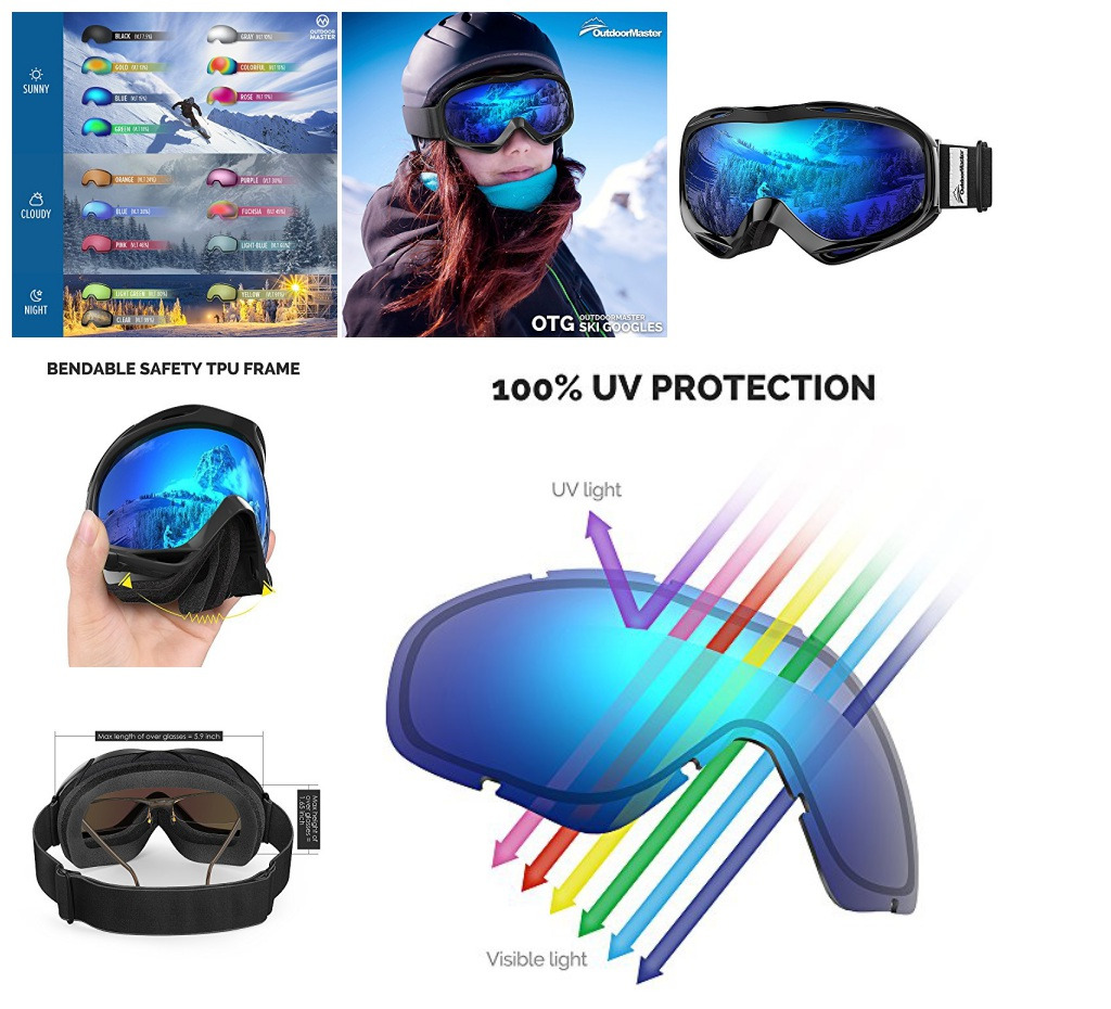 OTG Ski Goggles Over Glasses Snowboard Skiing Uv Predection Youth Men Women bluee