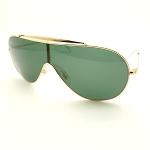 6ea5e30443 Ray Ban 3597 9050 71 Gold Green Wings Shield Sunglasses New ...