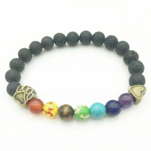 Vintage Dog Paw 8mm Rainbow Chakras Black Lava Stone Bracelets DIY Aromatherapy