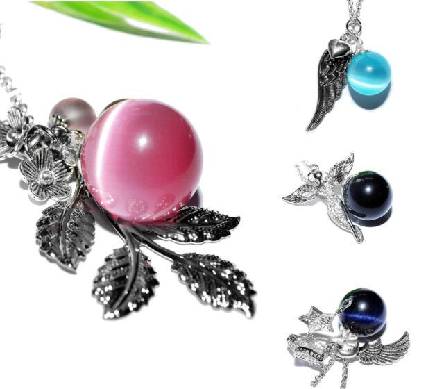 CATEYE KUGELKETTE +++ Halskette Kette Anhänger Kugel Perlen Engel Flügel Blatt