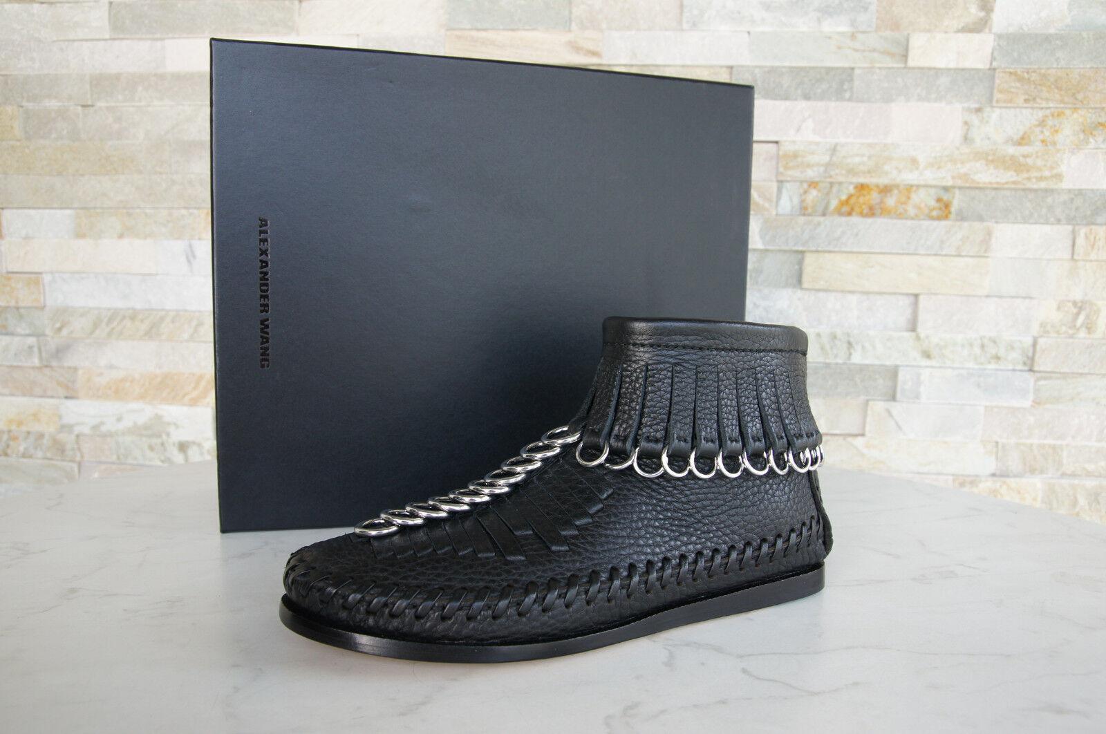 Alexander Wang 36 Bottines Bottes Chaussures en Cuir Noir Neuf Neuf Neuf Autrefois 596ffd
