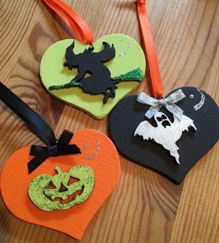 3 Halloween Decorations Handmade Hanging Witch Pumpkin Ghost Orange Green Blac