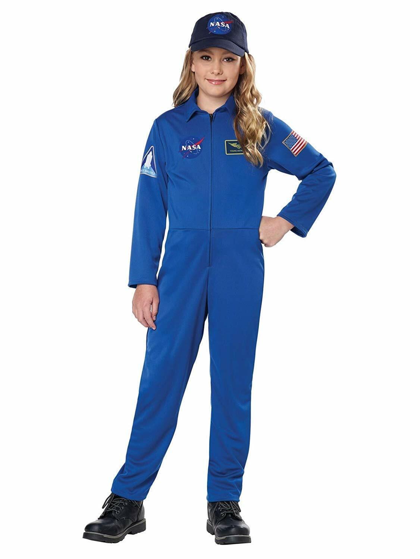 NASA Jumpsuit Blue Astronaut Suit Unisex Fancy Dress Up Halloween Child Costume